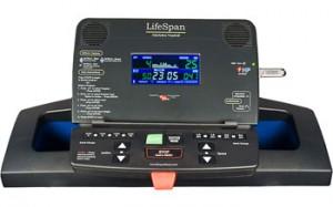 The multicolored LCD console of LifeSpan TR 1200i Folding Treadmill